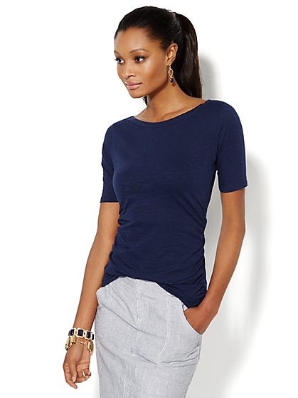 Bateau-Neck Shirred Top - Solid  - New York & Company