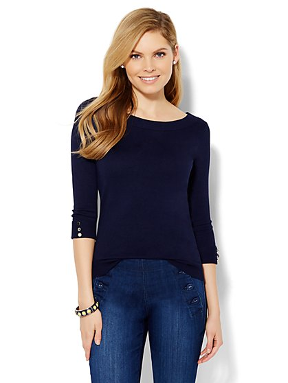 Bateau-Neck Sweater - Solid  - New York & Company