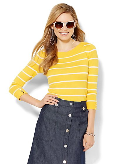 Bateau-Neck Sweater - Striped  - New York & Company