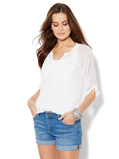 Bead-Embroidered Popover Blouse - New York & Company