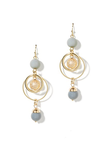 Bead & Hoops Triple-Drop Earrings
