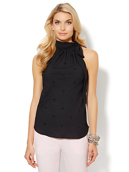 Beaded Bow Halter Blouse - New York & Company