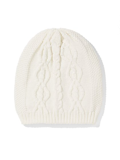 Beaded Cable-Knit Hat  - New York & Company