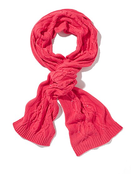 Beaded Cable-Knit Scarf  - New York & Company