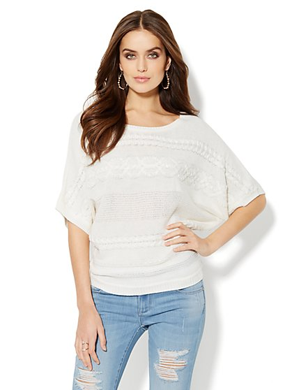 Beaded Cable-Stitch Dolman-Sleeve Sweater - New York & Company