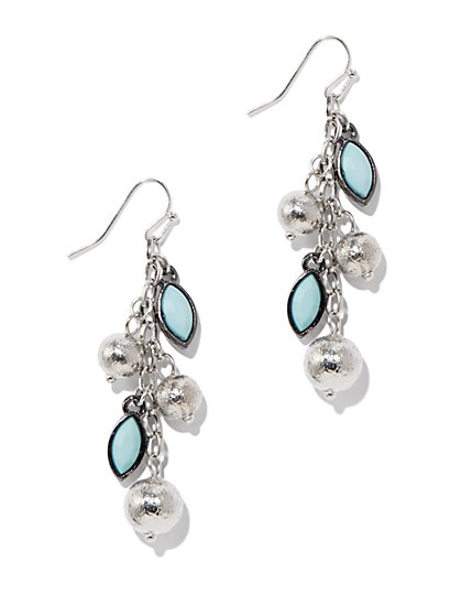 Beaded Chain Dangle Earrings - New York & Company