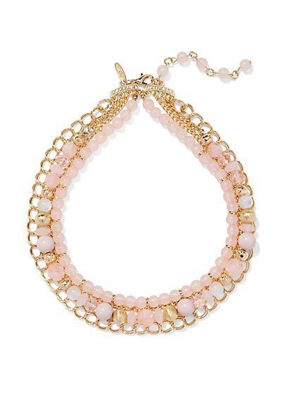 Beaded & Chain Link Bib Necklace  - New York & Company