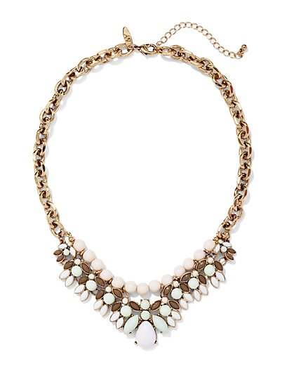Beaded Chain-Link Bib Necklace  - New York & Company