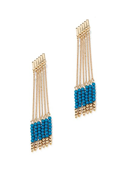 Beaded Chain-Link Drop Earring  - New York & Company