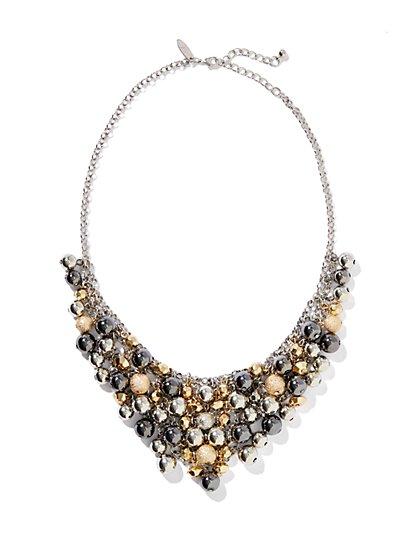 Beaded Cluster Bib Necklace
