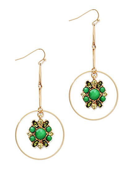 Beaded Cluster & Circle Drop Earring  - New York & Company