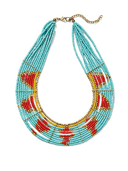 Beaded Collar Necklace - Tribal Print  - New York & Company