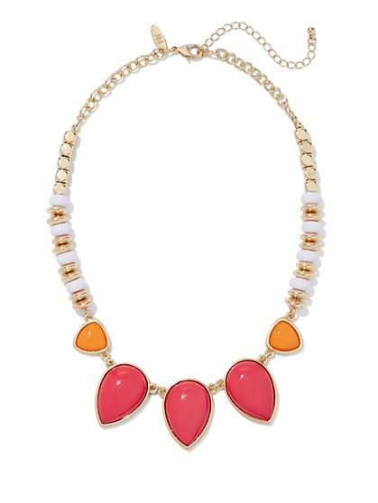 Beaded & Coral Teardrop Necklace - New York & Company