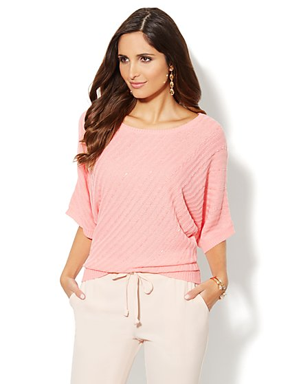 Beaded Diagonal-Stitch Kimono-Sleeve Sweater   - New York & Company