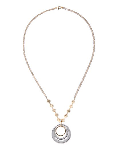 Beaded Double-Circle Pendant Necklace  - New York & Company