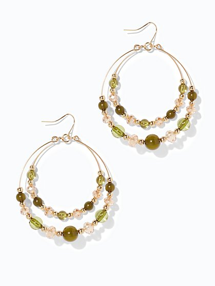 Beaded Double-Hoop Drop Earring  - New York & Company