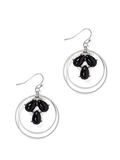 Beaded Double-Hoop Drop Earrings  - New York & Company