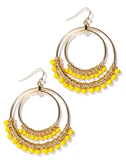 Beaded Double Hoop Earring - New York & Company