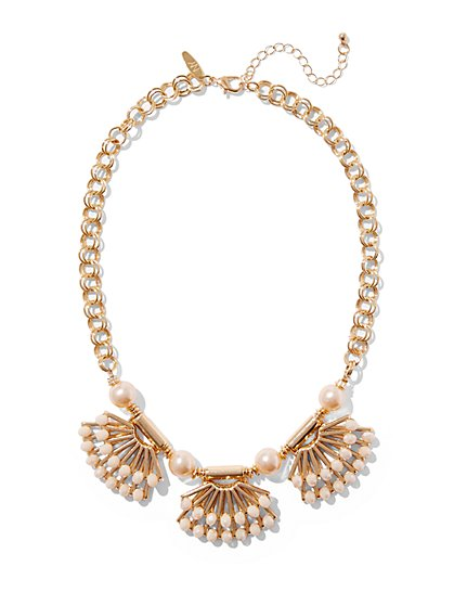 Beaded Fan Pendant Necklace  - New York & Company