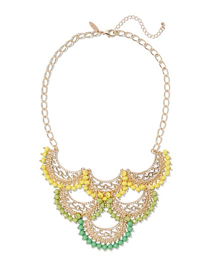 Beaded Filigree Statement Necklace  - New York & Company