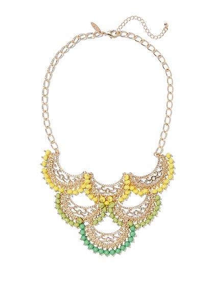 Beaded Filigree Statement Necklace  - New York & Company