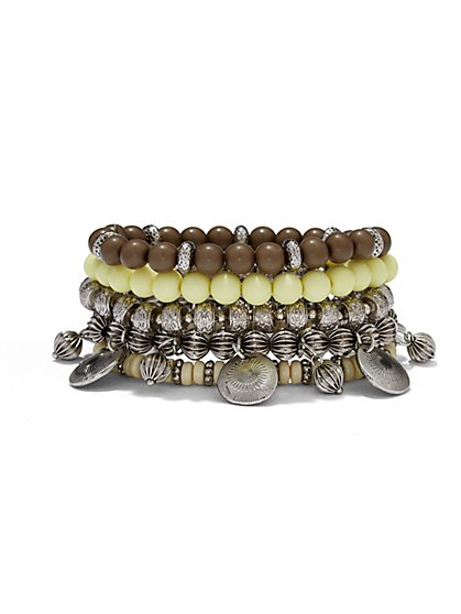 Beaded Five-Row Stretch Bracelet  - New York & Company