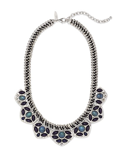 Beaded Floral Bib Necklace  - New York & Company