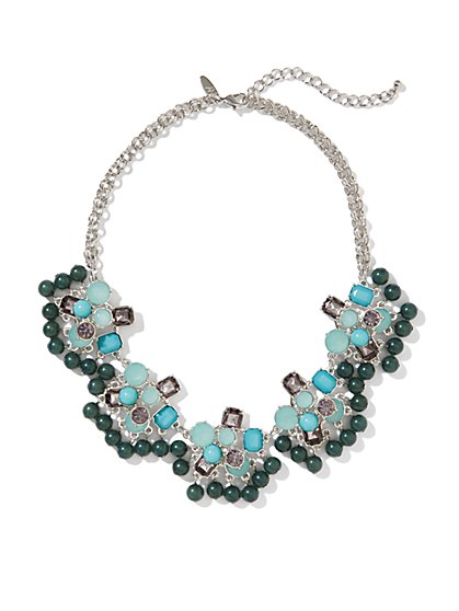 Beaded Floral Bib Necklace
