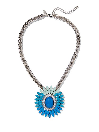 Beaded Floral Pendant Necklace  - New York & Company