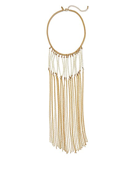 Beaded Fringe Bib Necklace  - New York & Company