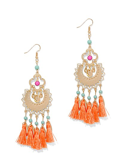 Beaded & Fringe Chandelier Earring  - New York & Company