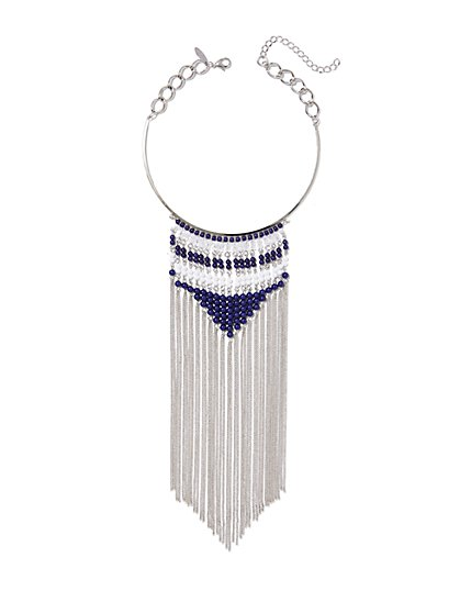 Beaded Fringe Collar Necklace  - New York & Company
