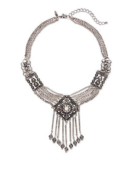Beaded Fringe Collar Necklace - New York & Company