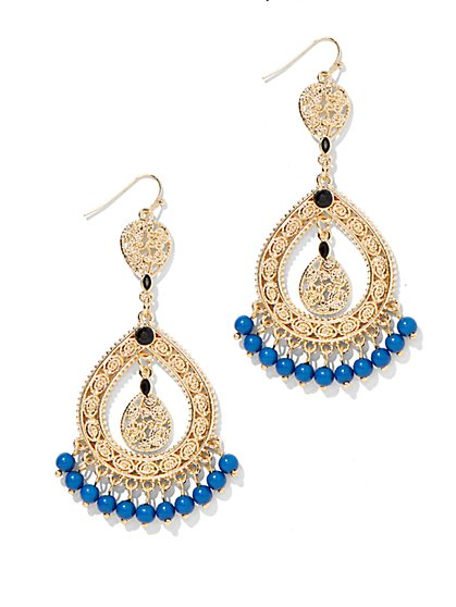 Beaded Fringe Double-Teardrop Earring - New York & Company