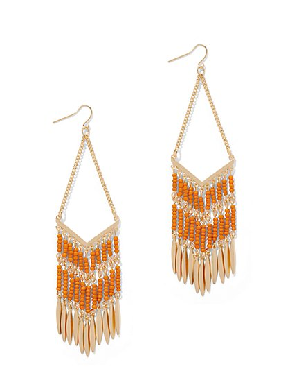 Beaded Fringe Drop Earring  - New York & Company