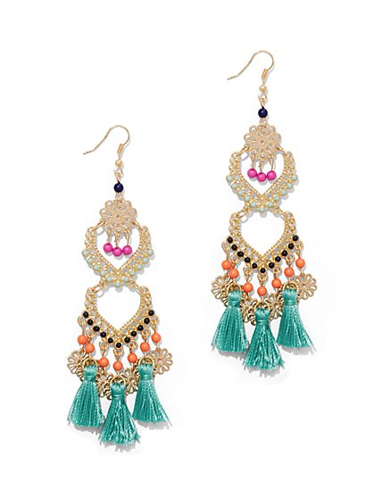 Beaded & Fringe Drop Earring  - New York & Company