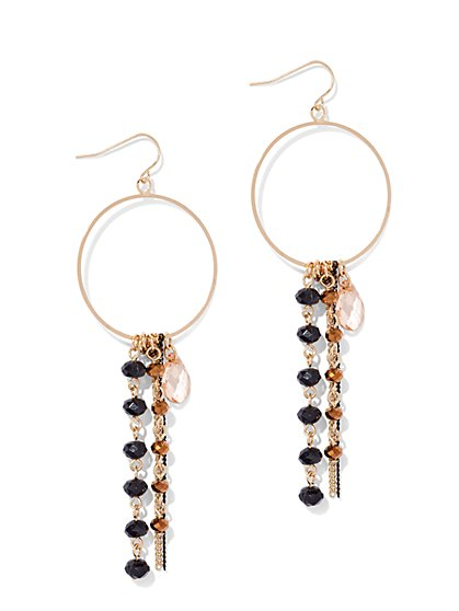Beaded Fringe Hoop Drop Earring  - New York & Company