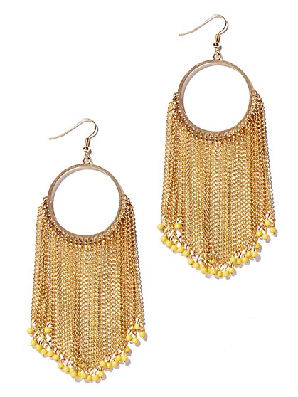 Beaded Fringe Hoop Earring  - New York & Company