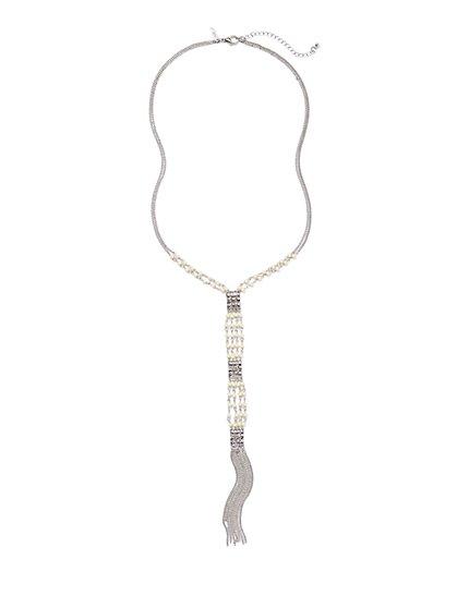 Beaded Fringe Lariat Necklace - New York & Company
