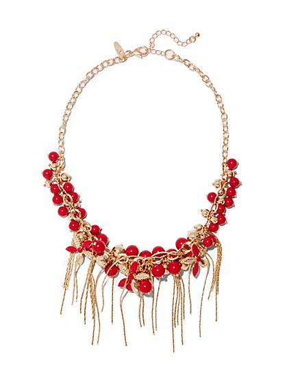 Beaded Fringe Necklace  - New York & Company