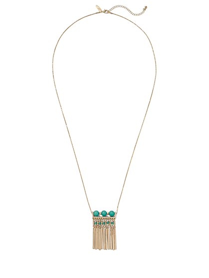 Beaded Fringe Pendant Necklace  - New York & Company