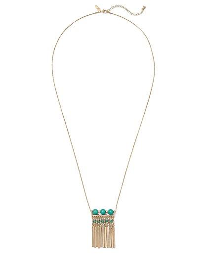 Beaded Fringe Pendant Necklace  - New York & Company