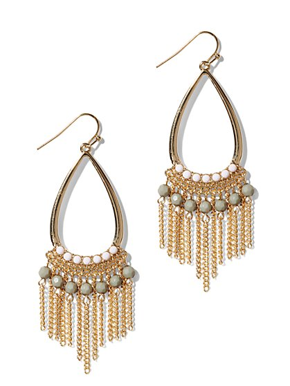 Beaded Fringe Teardrop Earrings - New York & Company