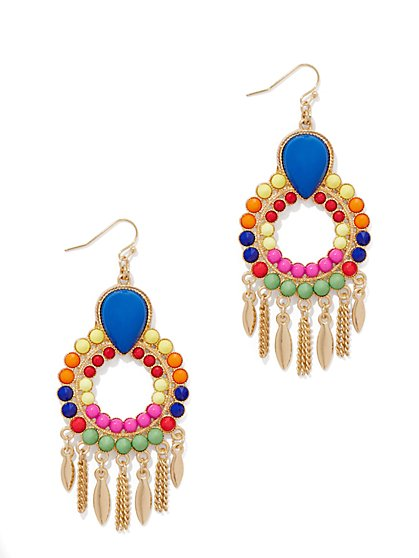 Beaded & Fringed Hoop Drop Earring  - New York & Company