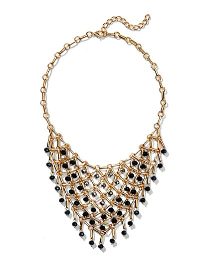 Beaded Golden Net Bib Necklace  - New York & Company