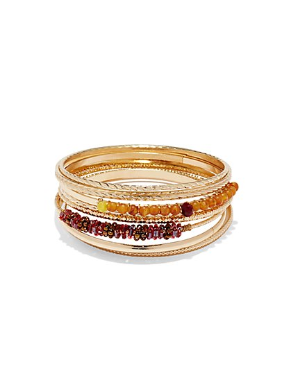 Beaded Goldtone Bangle Set  - New York & Company