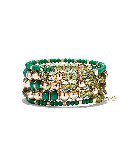Beaded Goldtone Coil Bracelet  - New York & Company