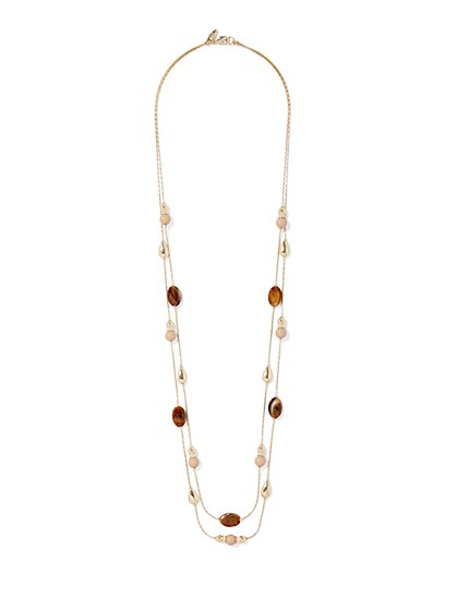 Beaded Goldtone Double-Row Necklace  - New York & Company
