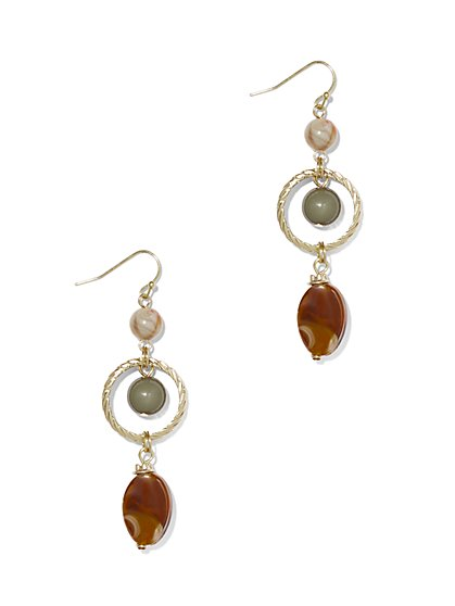 Beaded Goldtone Drop Earring  - New York & Company