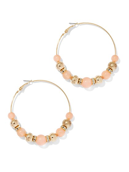 Beaded Goldtone Hoop Earring  - New York & Company